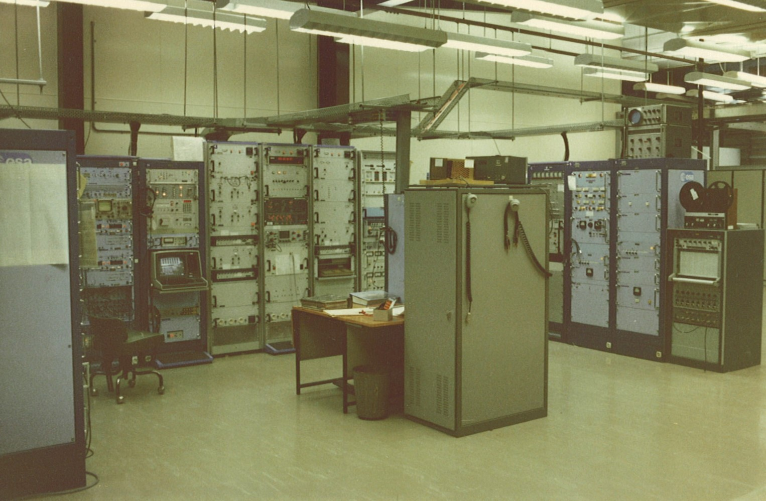 Room of large electronic devices.