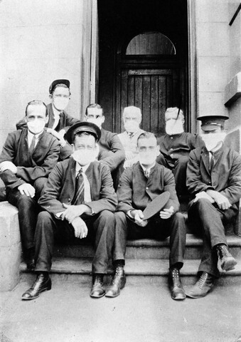 Balmain Post Office staff in masks, 1919, National Archives of Australia collection C4076, HN558.